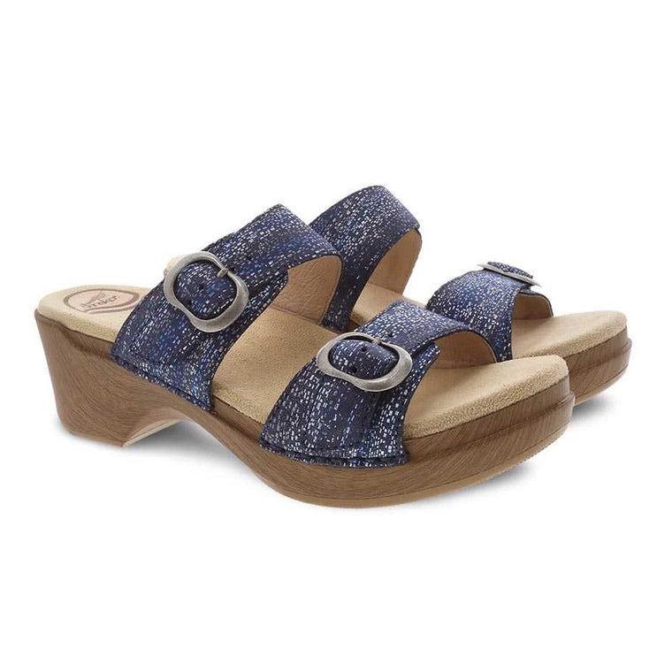 Dansko Women's Sophie Two-Strap Sandal - Blue Metallic Suede