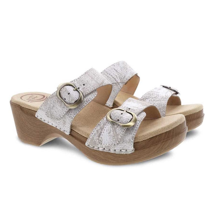 Dansko Women's Sophie Two-Strap Sandal - White Distressed