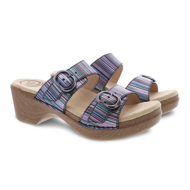 Dansko Women's Sophie Two-Strap Sandal - Metallic Stripe