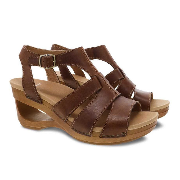 Dansko Women's Trudy Cutout Wedge Sandal - Tan Waxy Calf