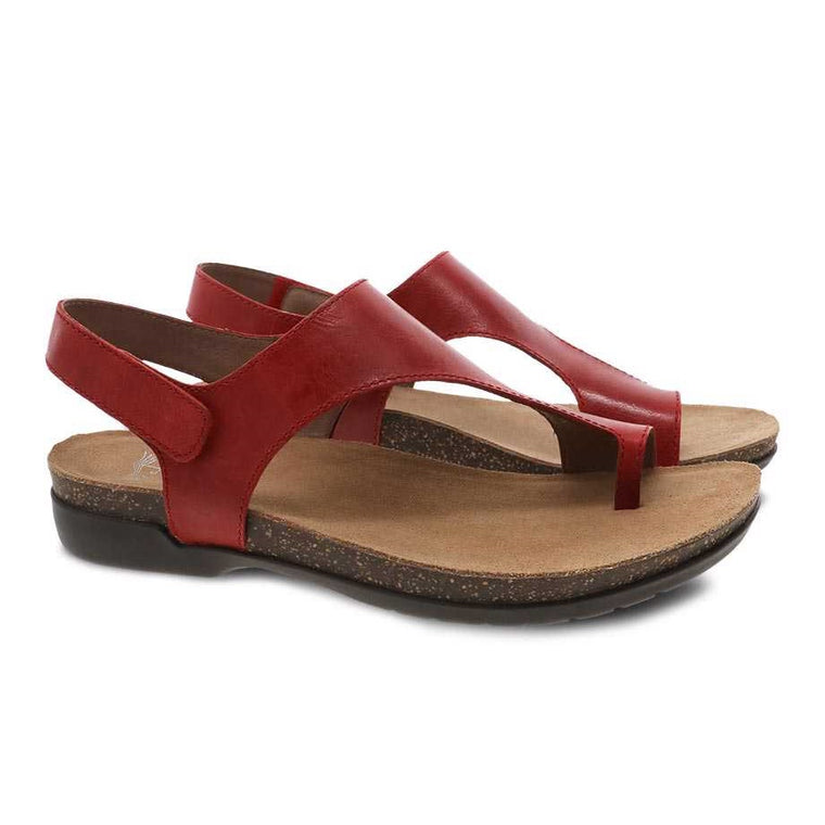 Dansko Women's Reece Sandal - Red Waxy Burnished