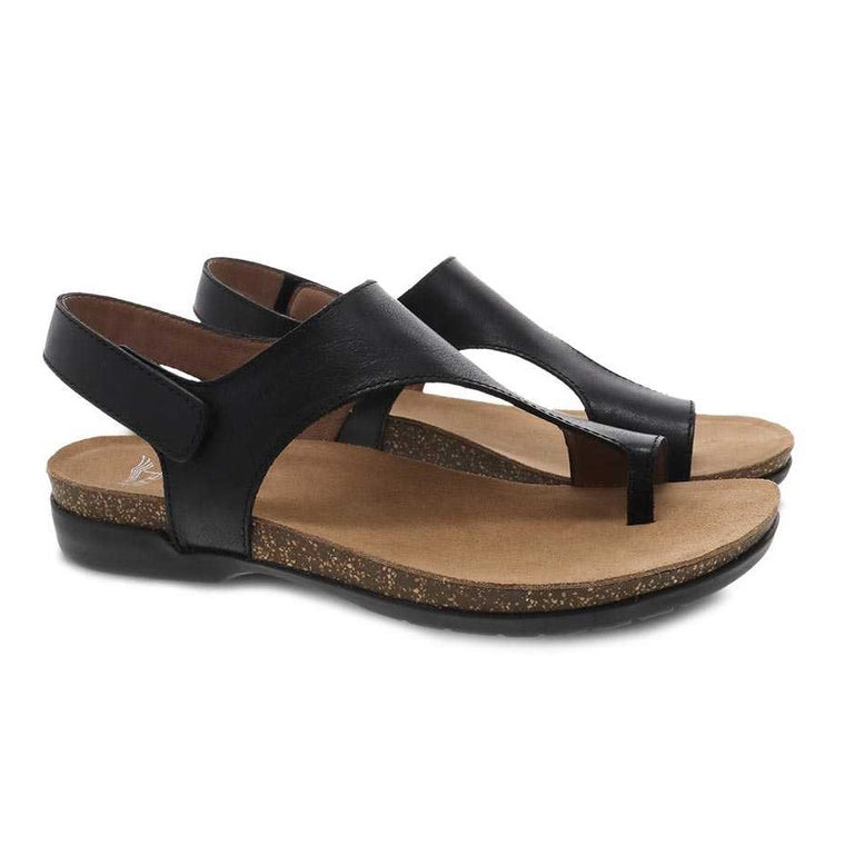 Dansko Women's Reece Sandal - Black Waxy Burnished