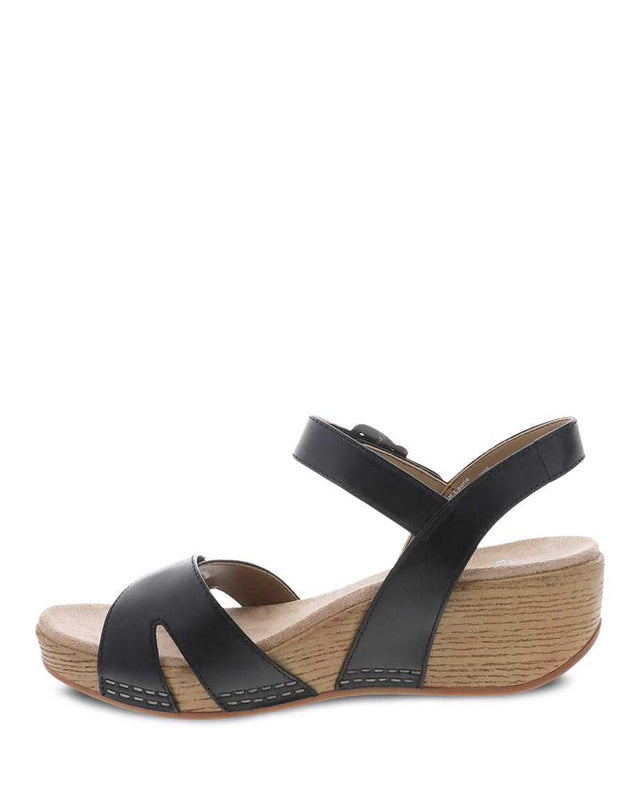 Dansko Women's Laurie Wedge Sandal - Black Burnished Calf
