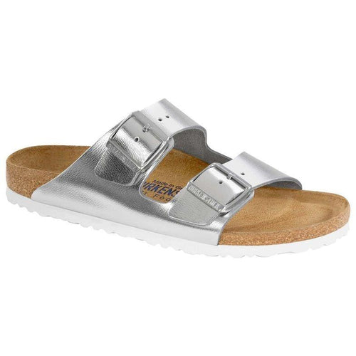 Women's Arizona Sandal - Metallic Silver Leather - Soft Footbed