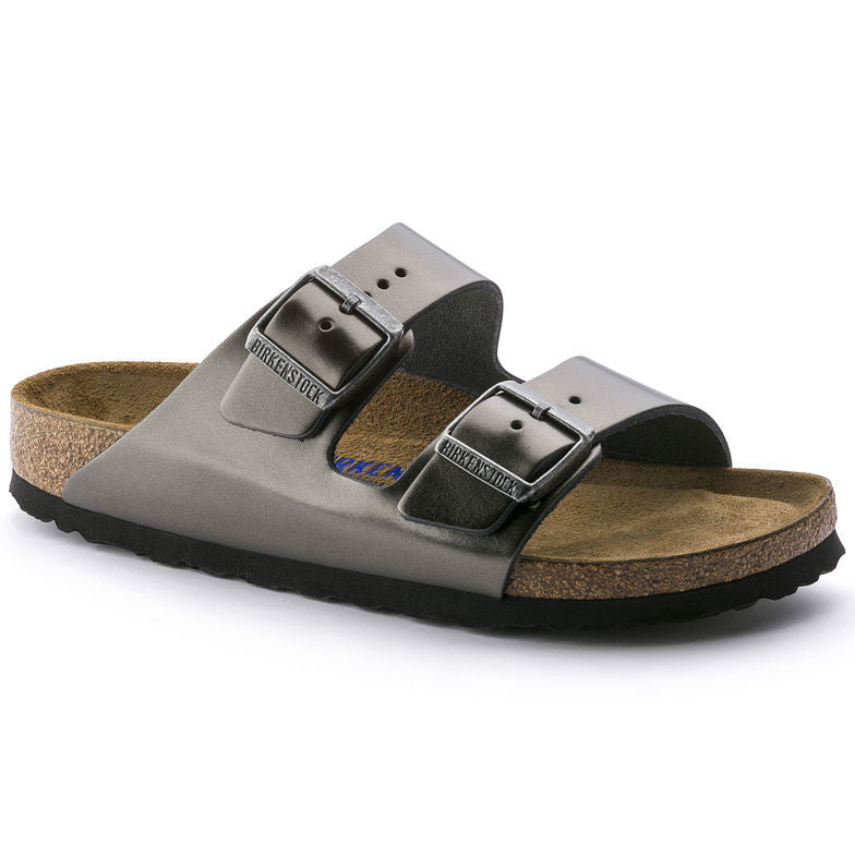 Women's Arizona Sandal - Metallic Anthracite Leather - Soft Footbed