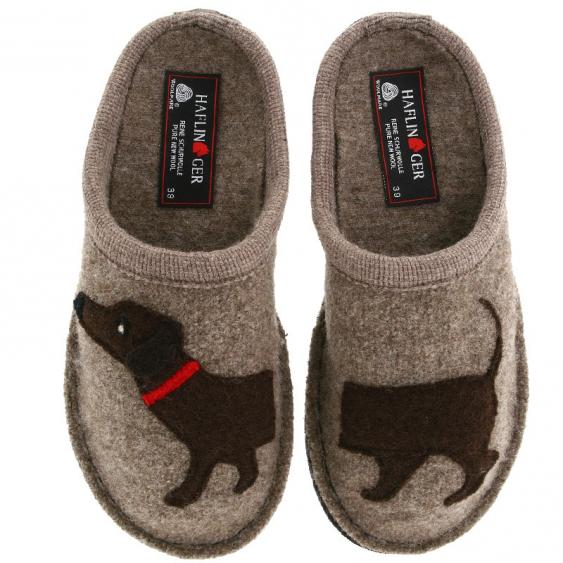 a075ecfd5b0 Haflinger Doggy Boiled Wool Soft Sole Slippers - Earth