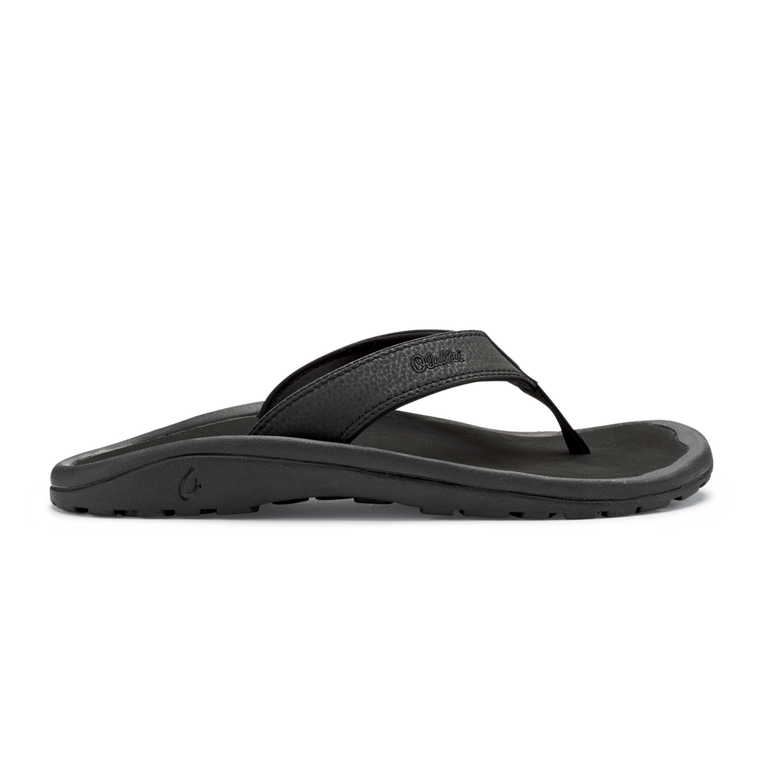 OluKai Men's Ohana Beach Sandals - Black/Black
