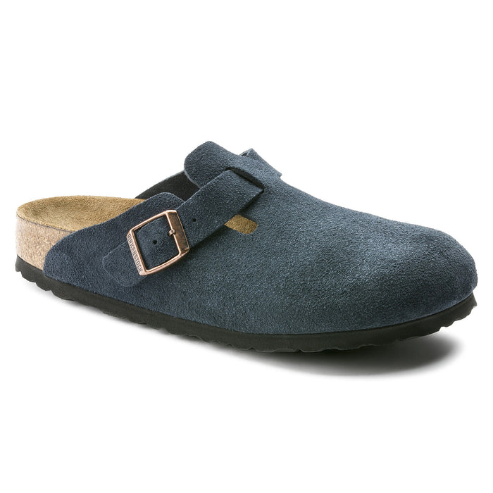 Women's Birkenstock Boston Soft Footbed - Navy Suede