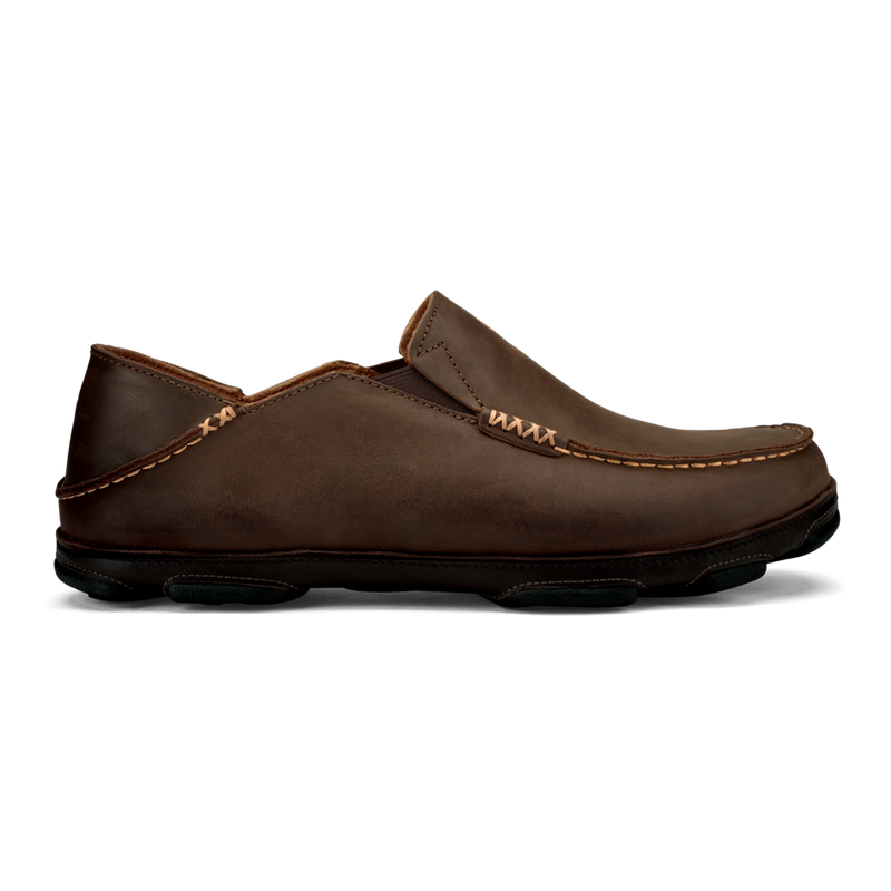 OluKai Men's Moloa Leather Slip-On Shoes - Dark Wood/Dark Java