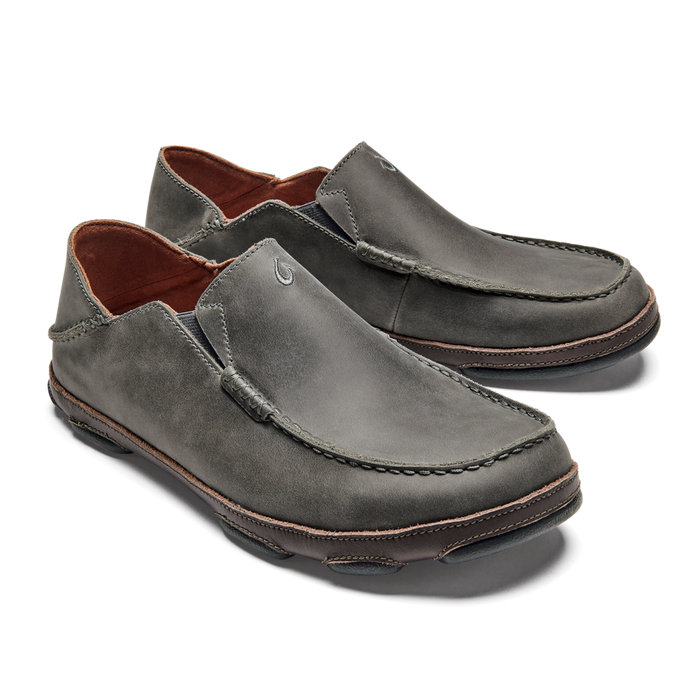 OluKai Men's Moloa Leather Slip-On Shoes - Ash/Dark Wood