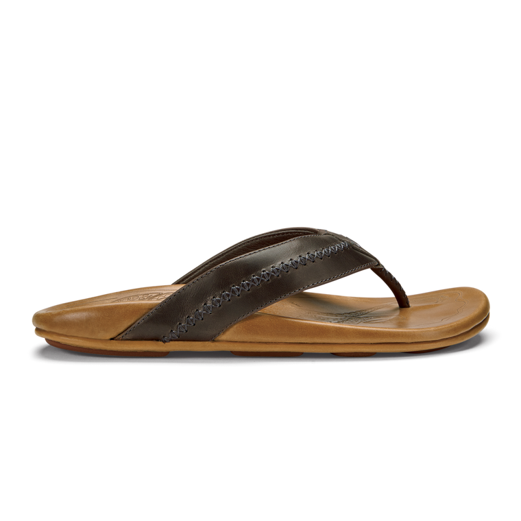 Olukai Men's Mea Ola Leather Sandals - Charcoal/Fox