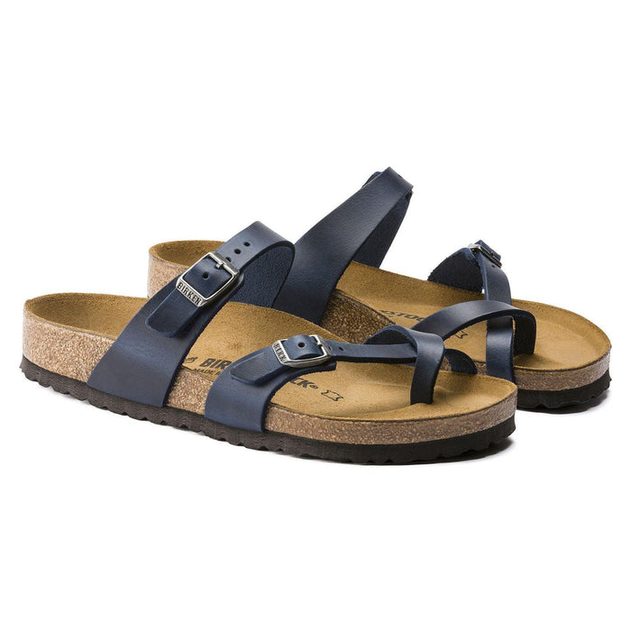 Women's Birkenstock Mayari Slide Sandal - Blue Oiled Leather