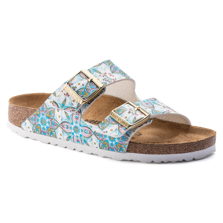 Women's Birkenstock Arizona Birko-Flor Slide Sandals - Boho Flowers White