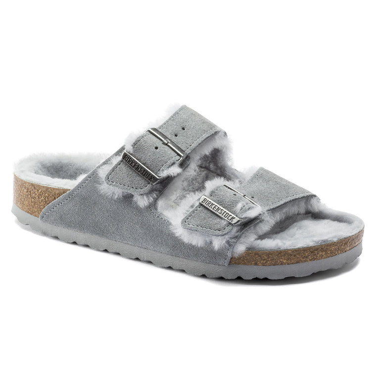 Women's Birkenstock Arizona Shearling Suede Leather - Gray