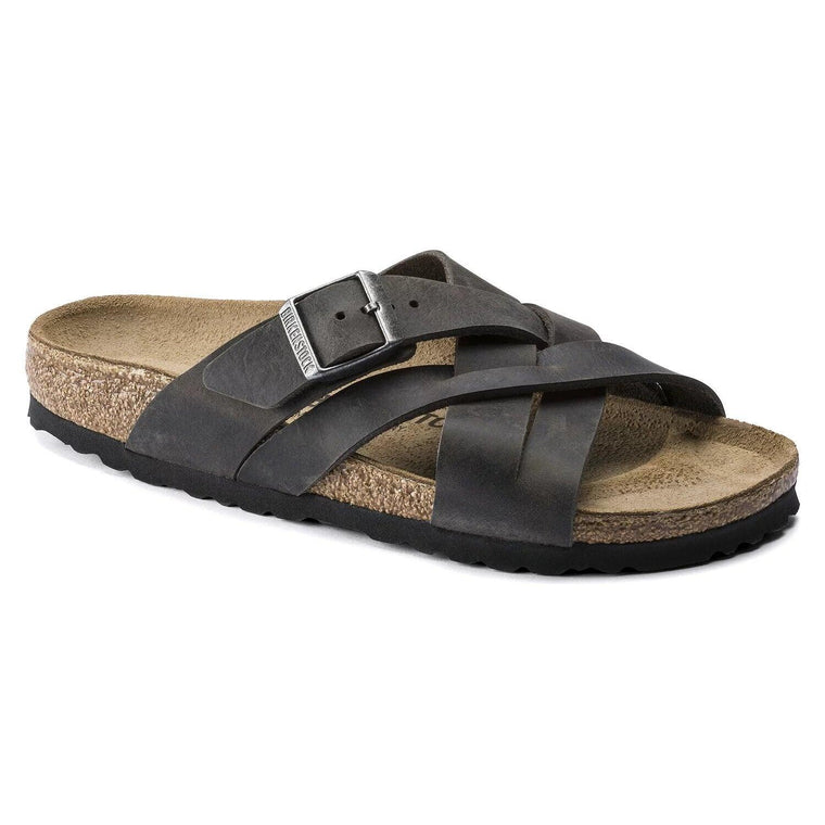 Birkenstock Men's Lugano Slide Sandal - Camberra Iron Oiled Leather