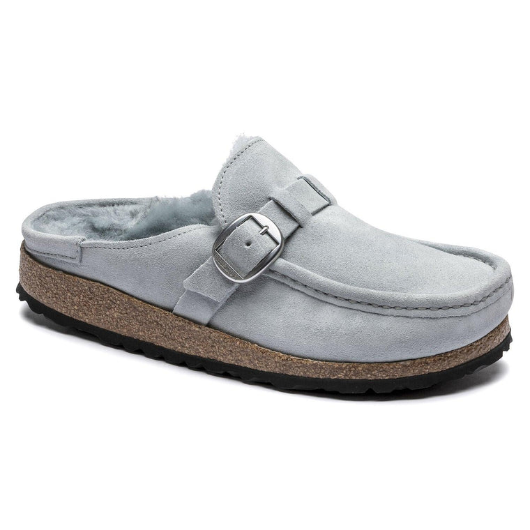 Birkenstock Women's Buckley Shearling Suede Leather Clog - Dusty Teal