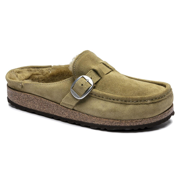 Birkenstock Women's Buckley Shearling Suede Leather Clog - Olive Tree