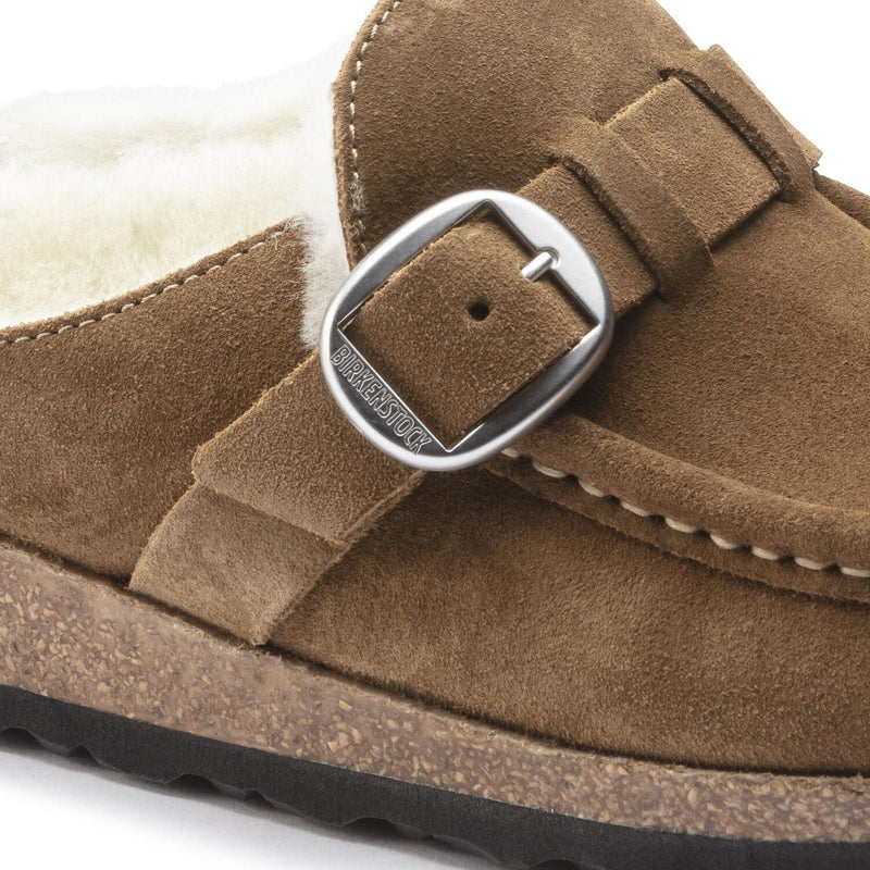 Birkenstock Women's Buckley Shearling Suede Leather Clog - Tea