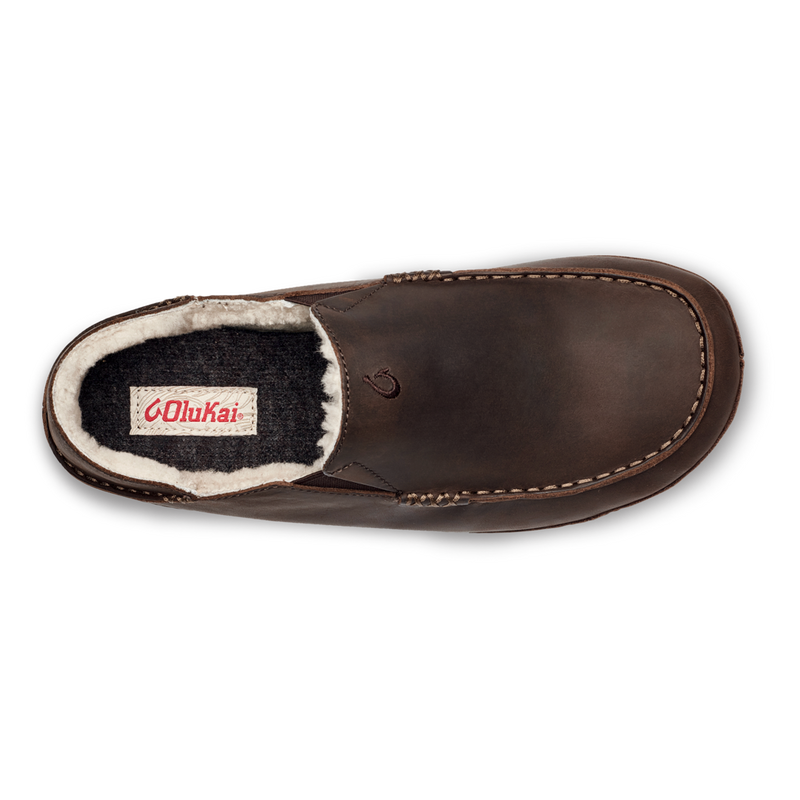 OluKai Men's Moloa Slipper - Dark Wood/Dark Wood