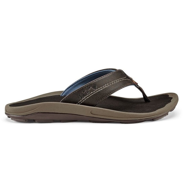 Men's OluKai Kipi Beach Sandals - Espresso/Espresso