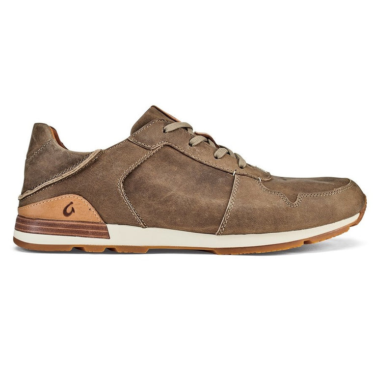 Men's Olukai Huaka'i Li Waxed Nubuck Leather Sneakers - Clay