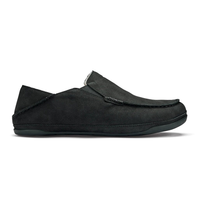 OluKai Men's Kipuka Hulu Leather Slippers - Black