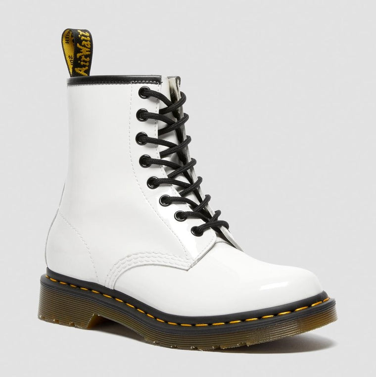Dr. Martens Women's 1460 Lace Up Boots - White Patent Lamper