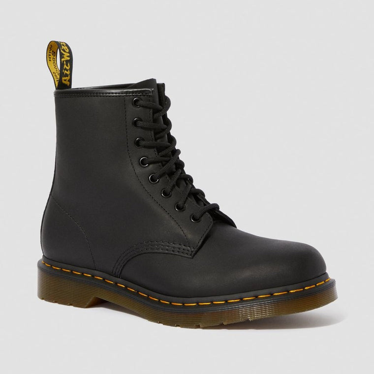 Dr. Martens Men's 1460 Greasy Leather Lace Up Boots - Black Greasy