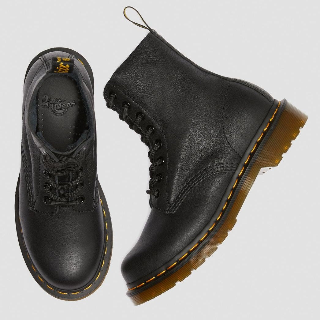 Martens PASCAL 8 Eye Leather Boots 13512006 BLACK VIRGINIA Women/'s Shoes Dr