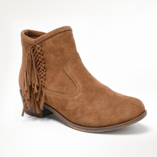 Women's Blake Fringe Ankle Bootie - Dusty Brown