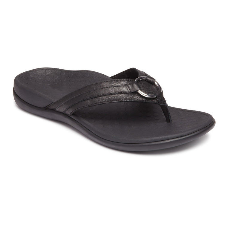 Vionic Women's Tide Aloe Toe Post Sandal - Black Leather