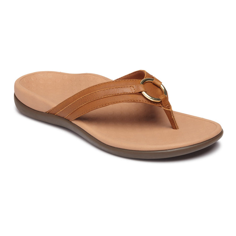 Vionic Women's Tide Aloe Toe Post Sandal - Mocha Leather
