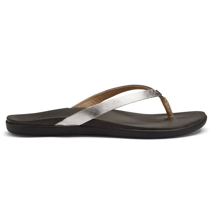 Women's OluKai Ho'opio Leather Beach Sandals - Silver/Charcoal