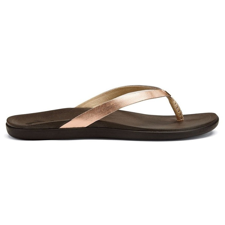 Women's OluKai Ho'opio Leather Beach Sandals - Copper/Dark Java