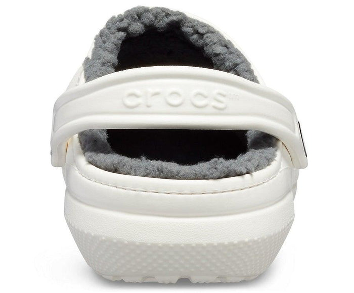 Crocs Classic Fuzz-Lined Clog - White/Grey