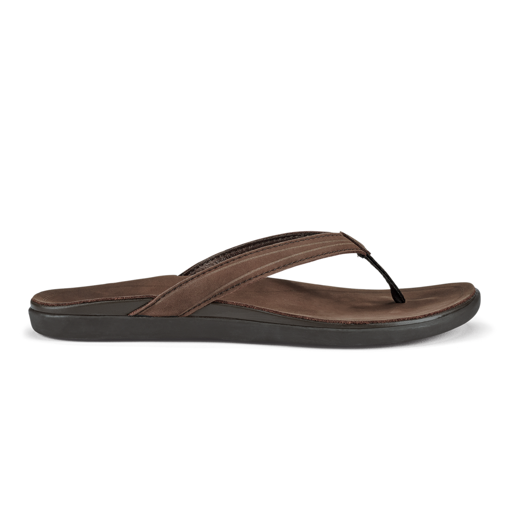 Olukai Women's 'Aukai Leather Sandals - Dark Java