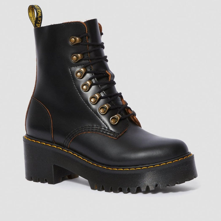 Dr. Martens Women's Leona Vintage Smooth Leather Heeled Boots - Black