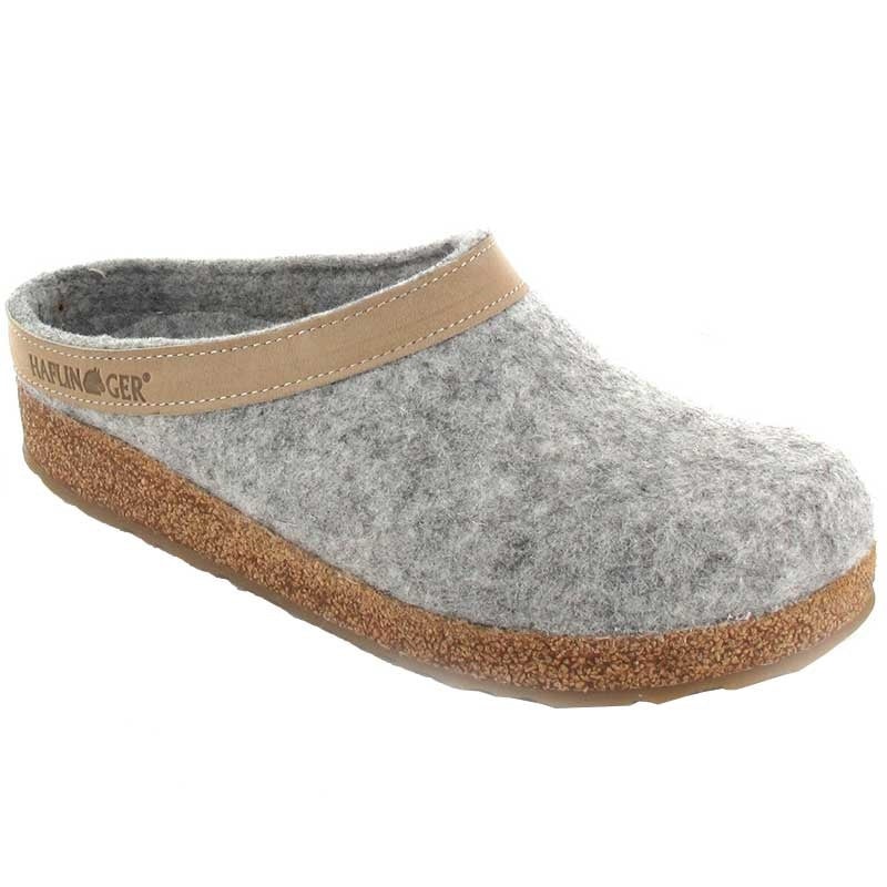 Haflinger GZL84 Grizzly Clog Leather Trim - Stone