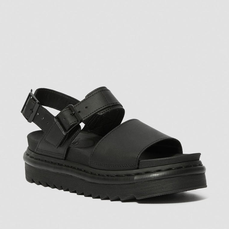 Dr. Martens Women's Voss Leather Strap Sandals - Black Hydro Leather