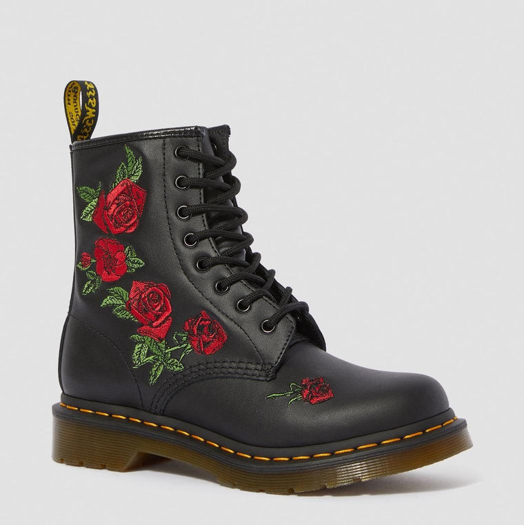 Dr. Martens Women's 1460 Vonda Floral Leather Lace Up Boots - Black Softy T