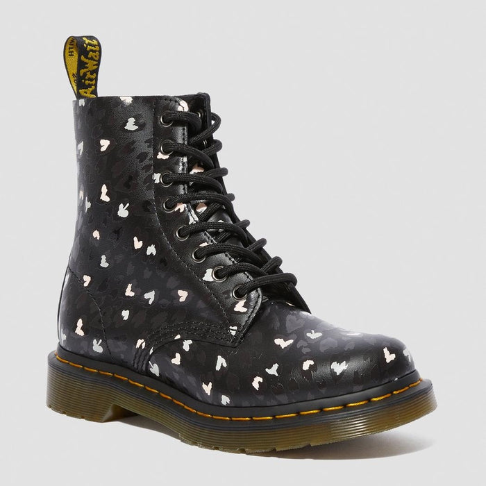 Dr. Martens Women's 1460 Pascal Leather Wild Heart Printed Lace Up Boots - Black Multi