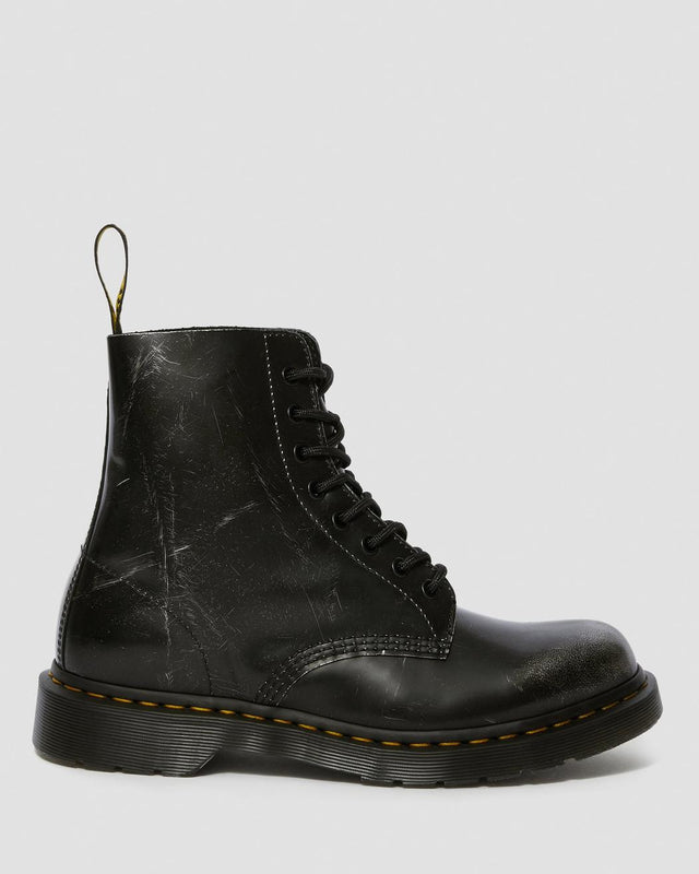Dr. Martens 1460 Pascal Metallic Leather Lace Up Boots - Metallic Silver Italian Brush Off
