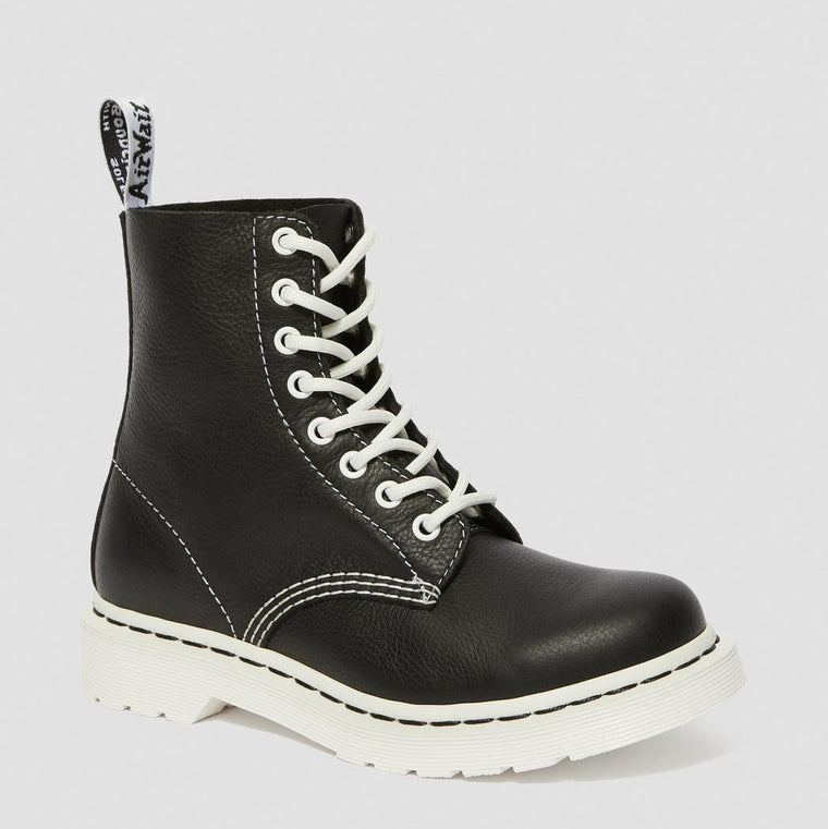 Dr. Martens Women's 1460 Pascal Virginia Black & White Up Boots - Black Virginia
