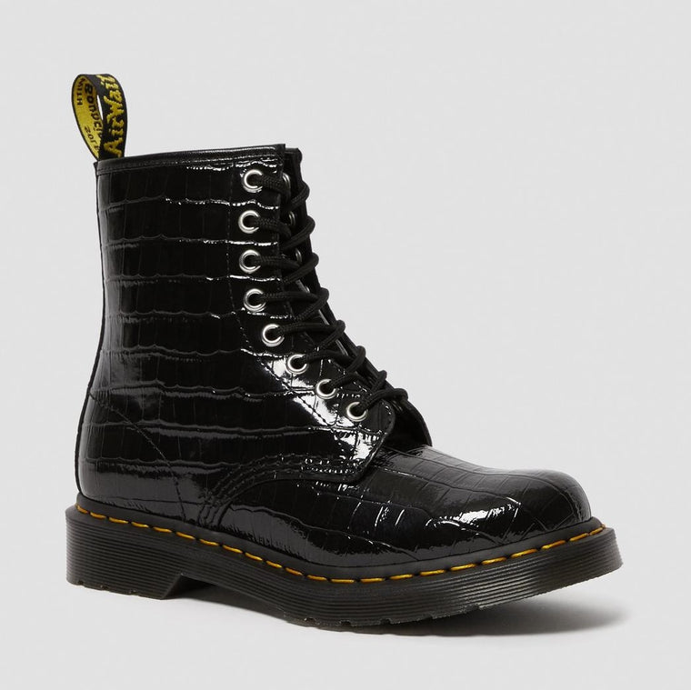 Dr. Martens Women's 1460 Lace Up Boots - Black Patent Croc Emboss