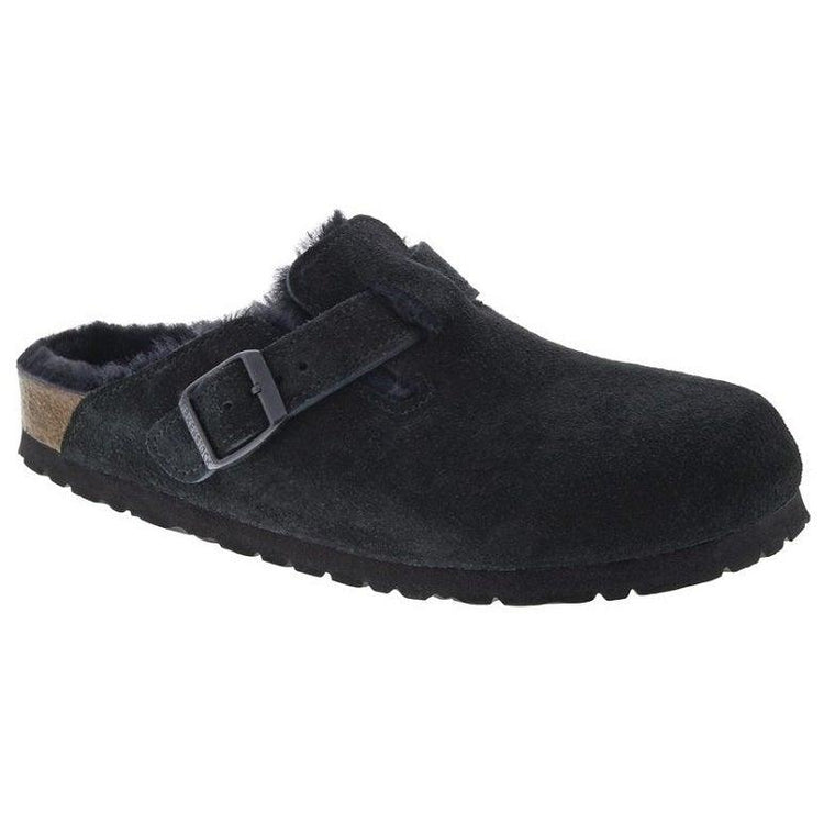 Birkenstock Boston Shearling - Black Suede