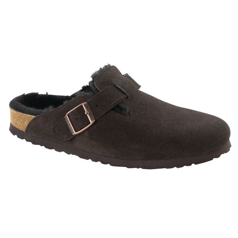 Women's Birkenstock Boston Shearling - Mocha Suede