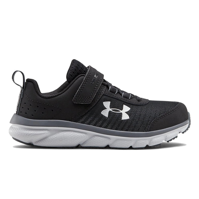 Under Armour Pre-School UA Assert 8 AC Wide Running Shoes - Black/Pitch Gray/Mod Gray