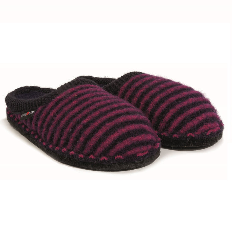 Haflinger Women's Cathy Boiled Wool Indoor Slipper - Navy/Kardinal