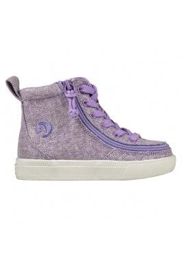 Toddler BILLY Footwear Classic Lace High - Lilac Lurex Canvas