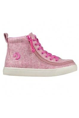Kids BILLY Footwear Classic Lace High - Heather Pink Lurex Canvas